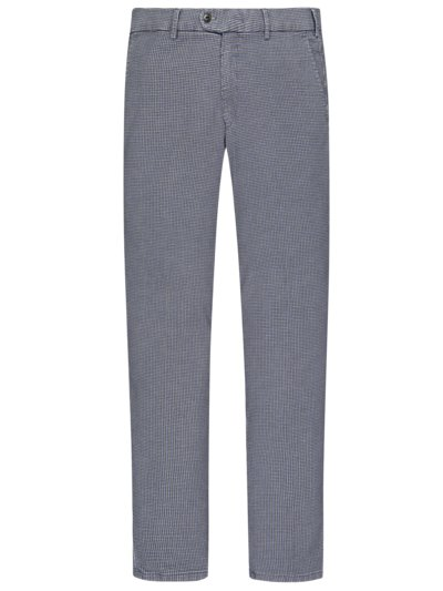 Chino in Woll-Optik, im Pepitamuster, Slim Fit in BLAU