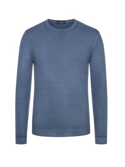 Leichter Wollpullover in Vintage-Optik in BLAU