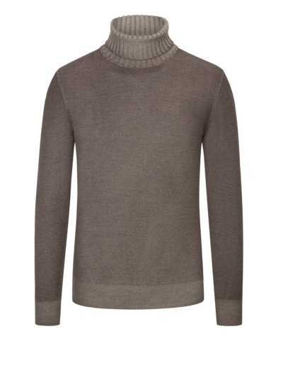Rollkragenpullover in Reiskorn-Optik in TAUPE