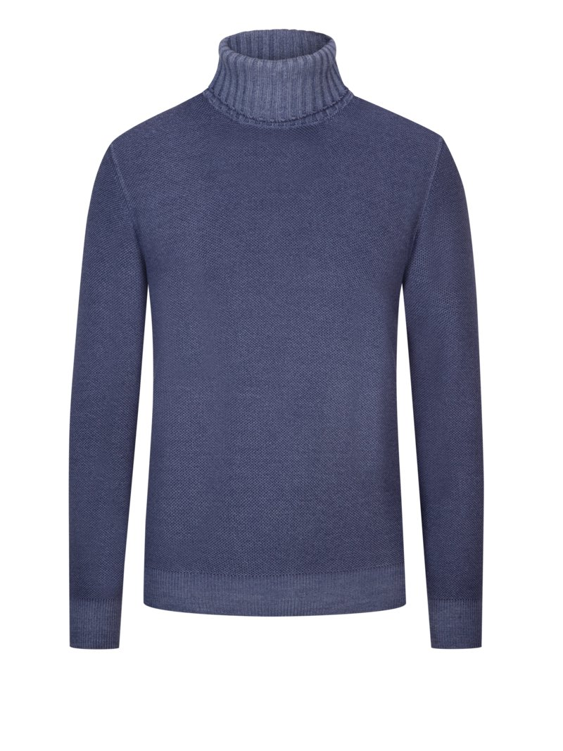 Rollkragenpullover in Reiskorn-Optik in DENIM