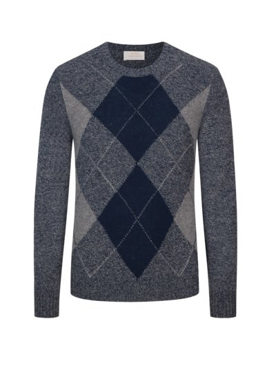 Pullover, O-Neck, mit Argyle-Muster in BLAU