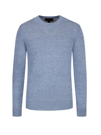 Pullover in reinem Leinen, O-Neck in BLAU