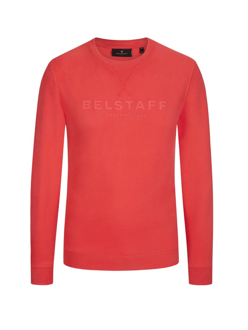 Sweatshirt, O-Neck in HELLROT