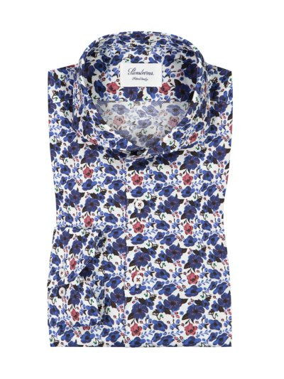 Hemd mit Blumen-Print, Fitted Body in ROYAL