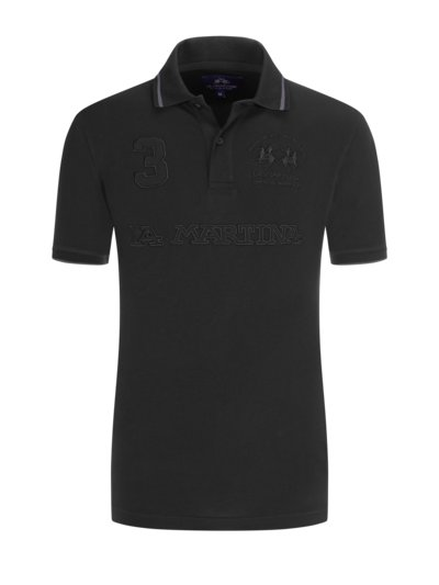 Poloshirt mit Logo-Applikation in SCHWARZ