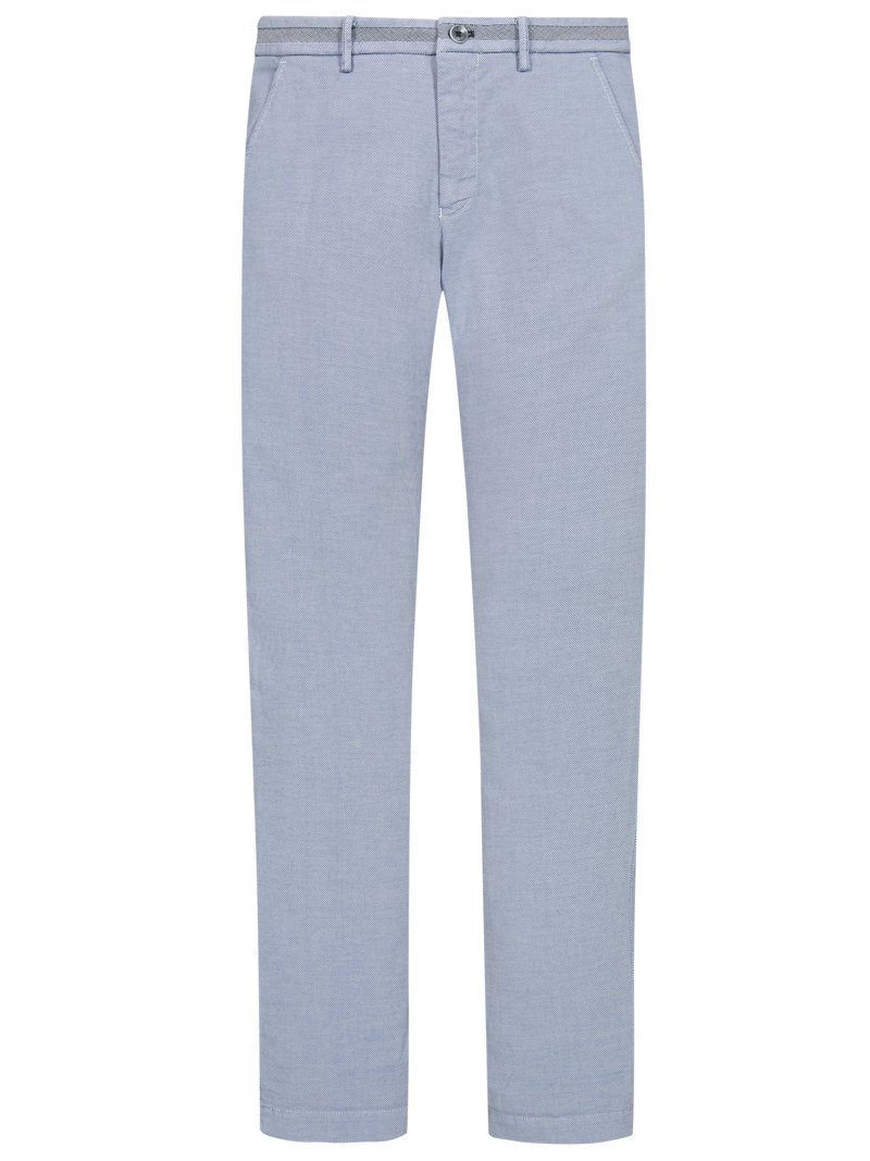 Leichte Stretch-Chino mit Strukturmuster, Slim Fit in BLAU