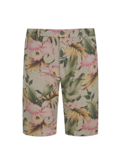 Bermuda mit Blumenprint, Slim Fit in OLIV