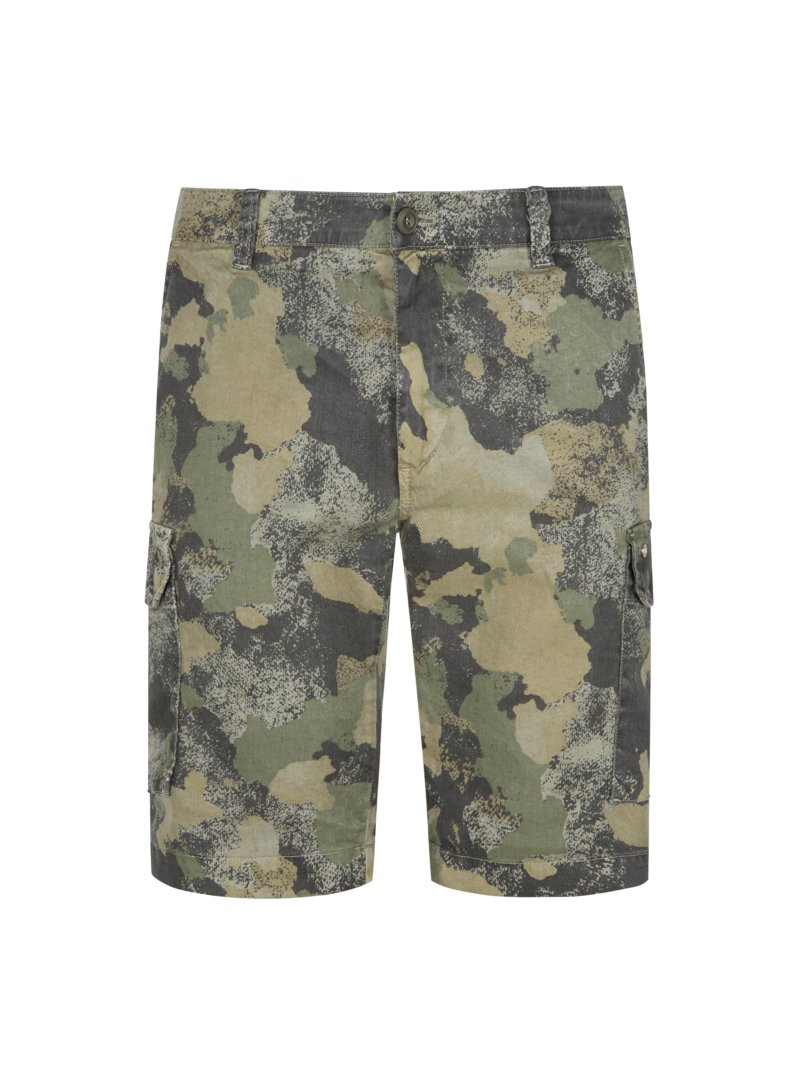 Bermuda im Camouflage-Muster, Chile1, Slim Fit in OLIV