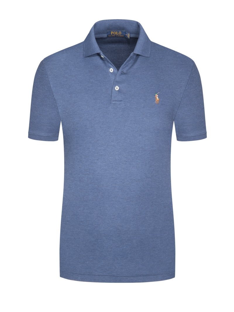 Poloshirt in softer Pima-Cotton-Qualität, Custom Slim Fit in MITTELBLAU