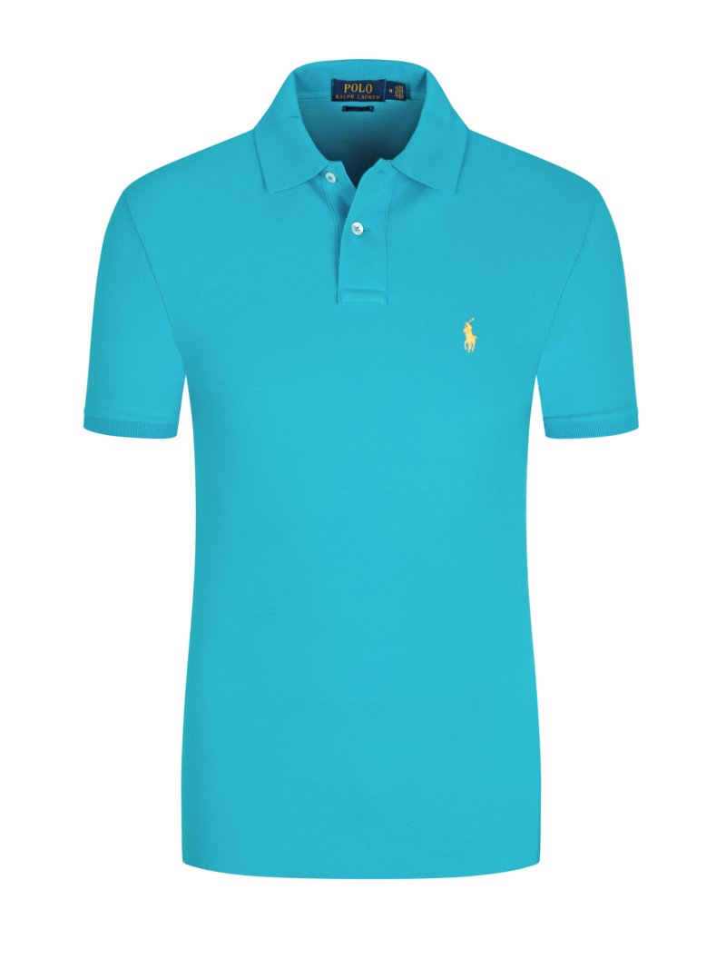 Poloshirt in Piqué-Struktur, Custom Slim Fit in TUERKIS