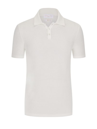 Poloshirt in modischer Struktur in OFFWHITE