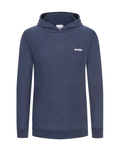 Leichter Pullover mit Kapuze, Washed-Look in MARINE