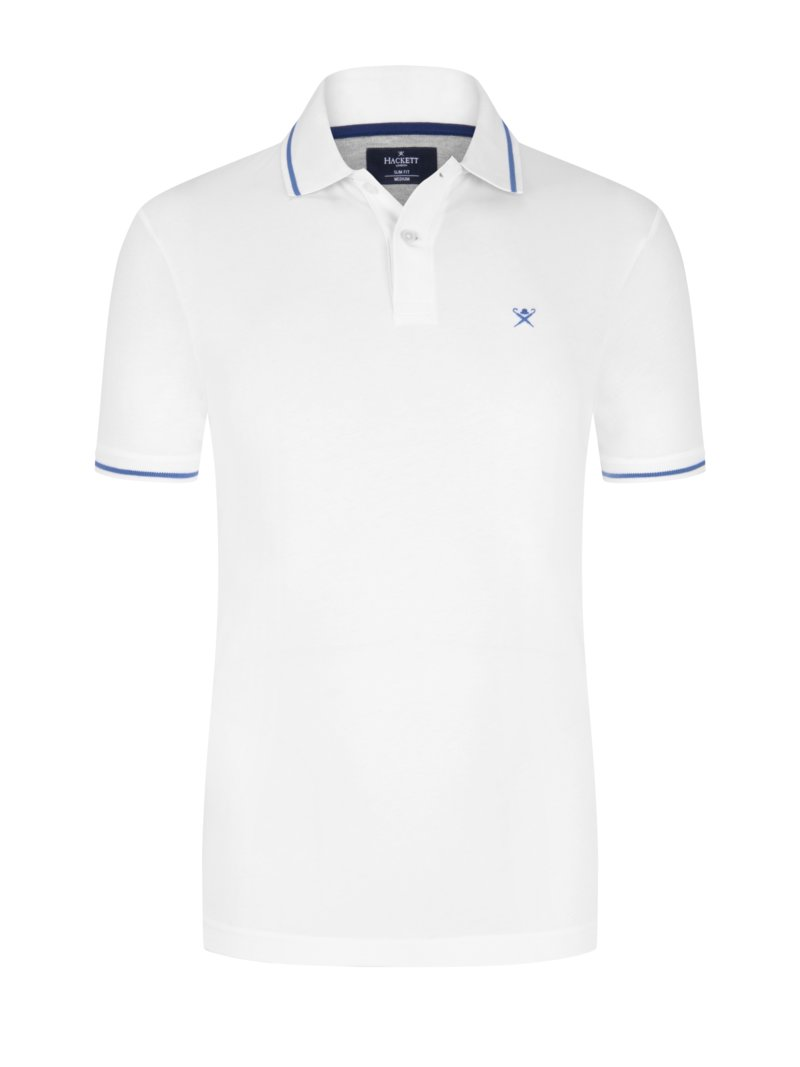 Jersey-Poloshirt, Slim Fit in WEISS