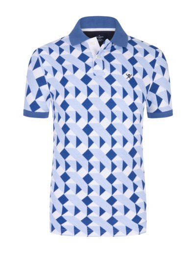 Poloshirt mit Kontrast-Print, Classic Fit in ROYAL