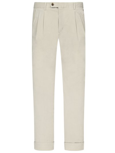 Leichte Chino mit doppelter Bundfalte, Shaped Fit in BEIGE