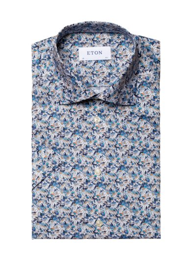 Kurzarmhemd mit Blumen-Print, Contemporary Fit in BLAU