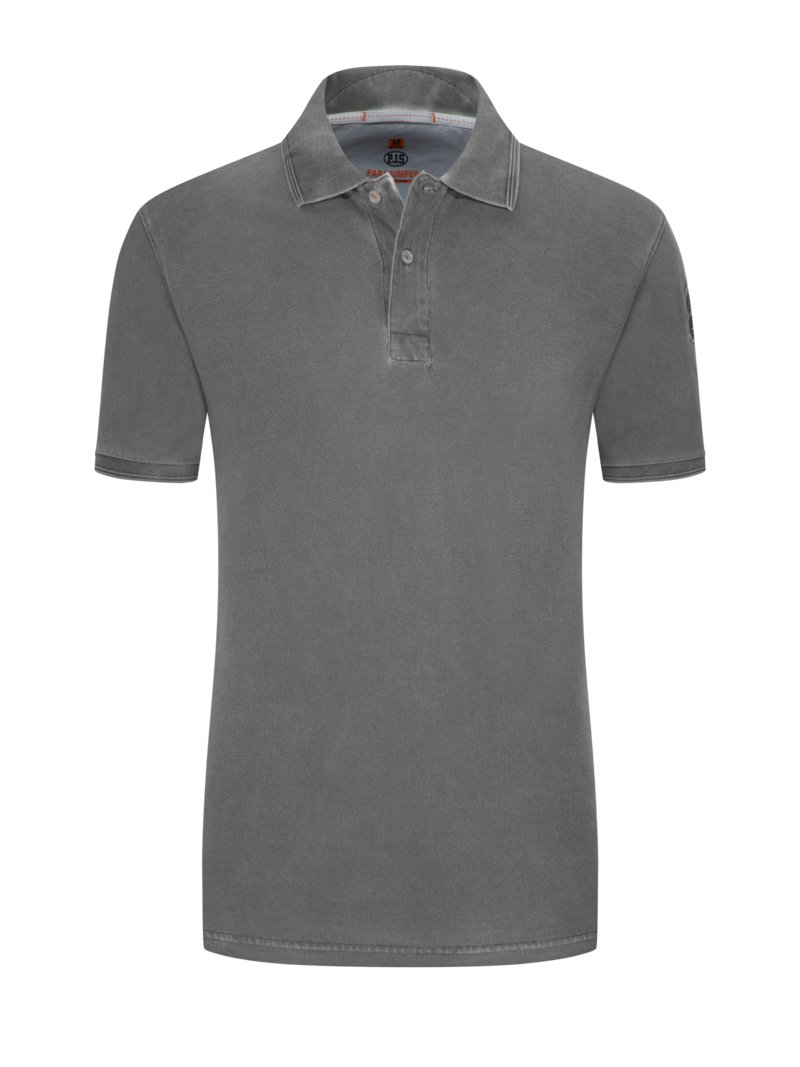 Poloshirt im Washed-Look in GRAU