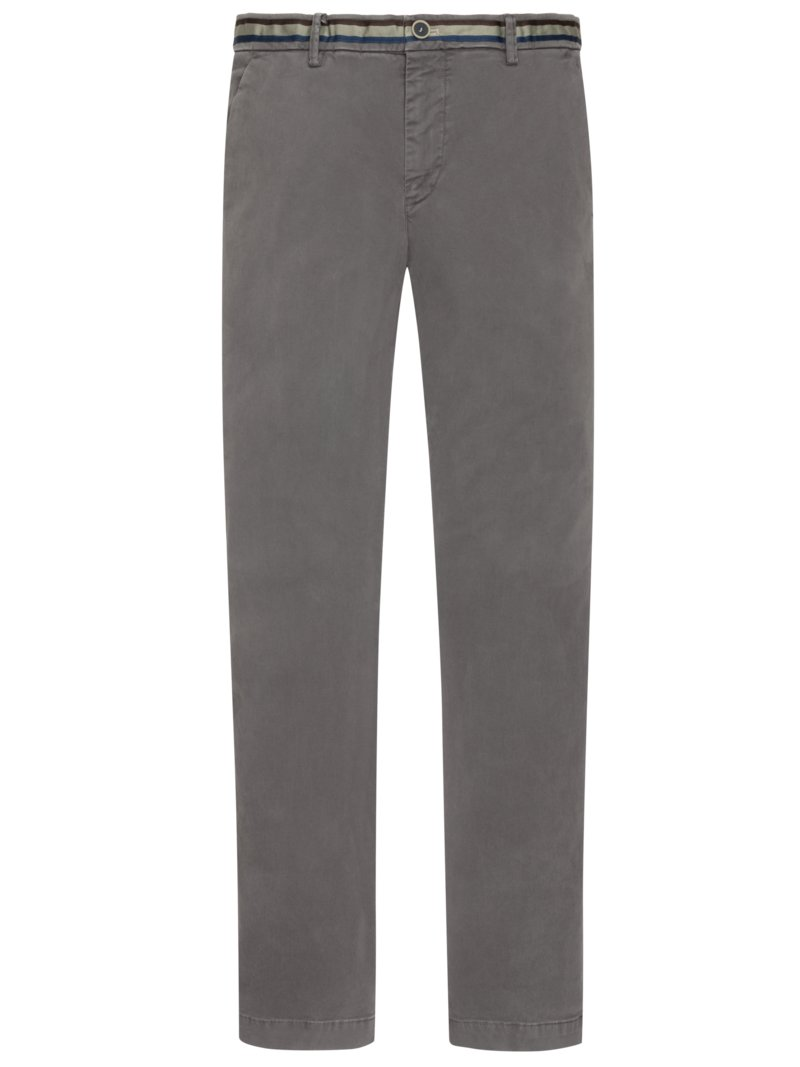 Baumwoll-Chino, New York, Slim Fit in GRAU