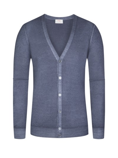 Feiner Strickcardigan, Regular Fit in GRAU