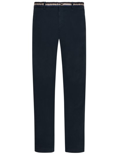 Baumwoll-Chino, New York, Slim Fit in MARINE
