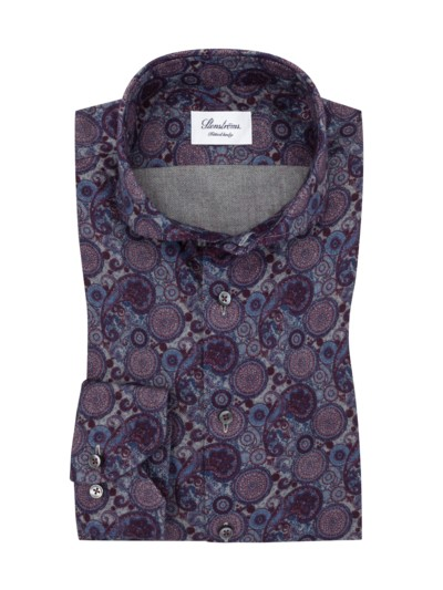 Paisley-Flanellhemd, Fitted Body in BLAU