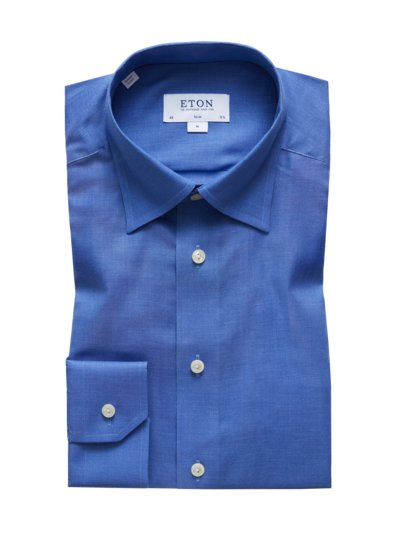 Businesshemd mit Under-Button-Down-Kragen, Slim Fit in BLAU