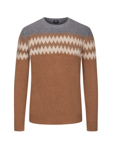 Pullover, O-Neck, in reiner Merinowolle in BEIGE