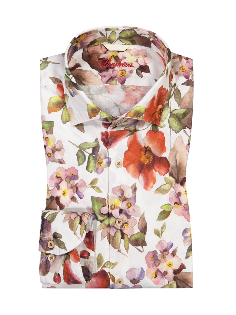 Freizeithemd mit Blumen-All-Over-Print, Fitted Body in ROT
