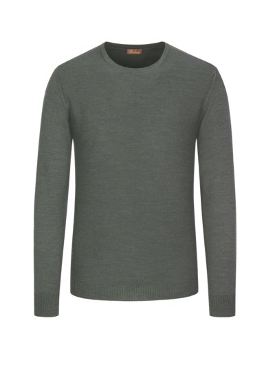 Pullover, O-Neck, in feiner Merinowolle in OLIV