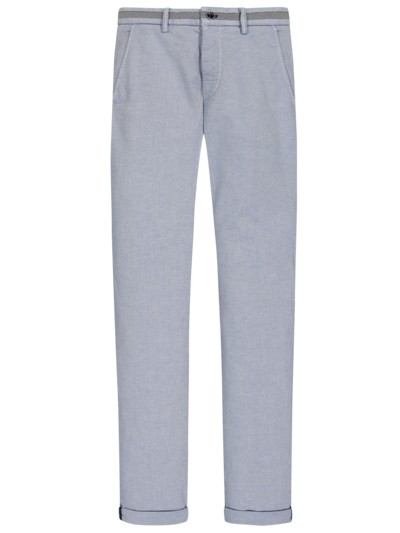 Stretch-Chino im Minimalmuster, Torino, Slim Fit in BLAU