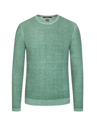 Pullover, O-Neck, in meliertem Design in GRUEN